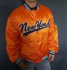 MATCH ONE Mens Orange Jacket Sport Bomber Whif Patch New York Baseball Size XL
