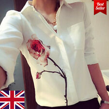 Fashion Womens Ladies Loose Chiffon Button Long Sleeve Tops Shirt Casual Blouse