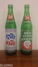 2 vintage 7-UP soda glass bottles 73' the Ohio State Buckeyes 75' Bicentennial