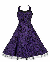 Vintage 50's Alternative Purple Tattoo Flocked Prom Party H/Neck Dress New 8-18