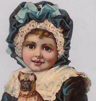 Very Large Victorian Die Cut Scrap Trade Card Little Girl & Pug Dog 9 x 6.5""