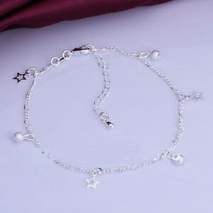 925 Sterling Silver Star Plated Charm Anklet. 26 cm with Extension Chain KPAN3