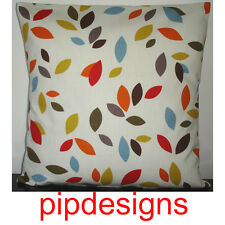 20 Retro Cushion Cover Red Orange Mustard Blue Brown Green Cream Leaves
