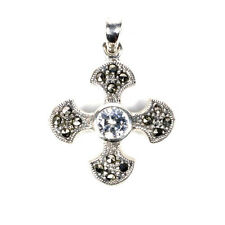 Cross Marcasite Pendant Sterling Silver 925 Vintage Style Christian Jewelry 33mm