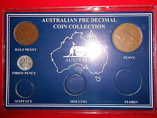 1949 AUSTRALIAN Pre Decimal 3 coin set IN SPECIAL CARD (very Nice) BIRTHDAY GIFT