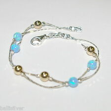 Sterling Silver 925 Chain with OPAL & GOLD FILLED Beads Two Strands ANKLET