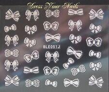 Nail Stickers Silver Bows Nail Bling DIY Decoration Bowknots Bow-ties - BLE-051