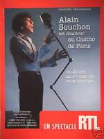PUBLICITÉ RTL PRÉSENTE ALAIN SOUCHON EST CHANTEUR AU CASINO DE PARIS