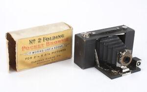 KODAK NO. 2 FOLDING POCKET BROWNIE MODEL B, TORN BOX, ISSUES, AS-IS/cks/197968