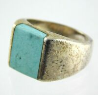Mexico Sterling Silver Turquoise Mens Band Ring 925 Size 7 Flat Rectangle Cab
