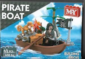 M.Y Pirate Boat Building Bricks Set, 2 Assorted Designs