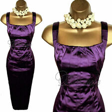 KAREN MILLEN Exquisite PURPLE Satin WIGGLE Cocktail DRESS UK 10 Weddings Races