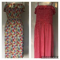 bnwt NEXT MIDI SUN DRESS FLORAL or CHECKED SIZE 14 16 20 RUCHED BODICE STRAPPY