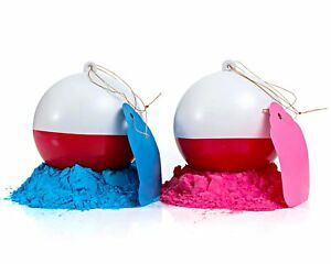 Gender Reveal Fishing Ball 2 Pack | Pink & Blue Set | Powder Red and White Lure
