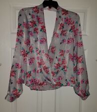 $42 NWT Lush Womens Surplice Floral-Printed Blouse Top Size L Large