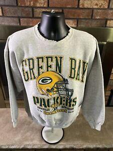 Vintage Green Bay Packers NFL Football Crewneck Sweatshirt Mens Large Distressed