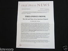 THELONIOUS MONK 'THE LIFE & TIMES OF AN AMERICAN ORIGINAL' 2009 PRESS RELEASE