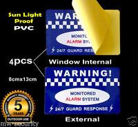 4 PVC Vinyl Sign Alarm Security Warning Sticker Window Internal External