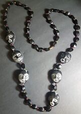 Mardi Gras Necklace Face Theater Masks Black Party Beads Fat Tuesday Celebration