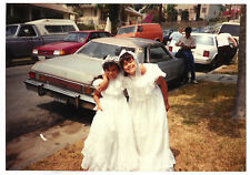 Vintage 80s PHOTO Pair Young Girls In 1st Communion Dresses & Veils