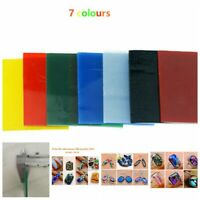 7 Sheets COE 90 Bullseye 3mm Kiln Fusing Glass Supplies 52x52x3mm 7 Colors