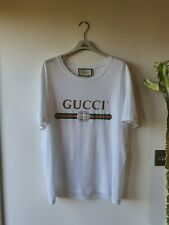 GUCCI VINTAGE DISTRESSED LOGO T SHIRT TEE TOP WHITE SIZE L- WORN ONCE - RECEIPTS