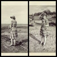 2 Vintage Old 1940's Photo of a Woman from the Front and Back on Windy Day