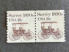 US Stamp 18¢ Surrey 1890's SC# 1907  Strip Coil Plate Number 6 MNH