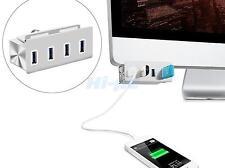 Clip-on 4-Port Aluminum USB 3.0 Hub for PC Apple iMac Slim Unibody w/clamp US