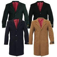 De La Creme - Men's Wool & Cashmere Blend Winter Coat Formal Security Overcoat