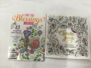 Lot of 2 Adult Christian Coloring Books Count Your Blessings, Choose Joy