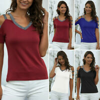 Women's V-neck Spliced Cut-Out Blouse Casual Summer Short Sleeved T-shirt Tops