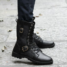 Mens High top Lace up Side zip Military Boots Combat Knight Mid Calf Boots Shoes
