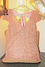 STUNNING TRACY REESE ANTIQUE ROSE CORAL PINK SILK &  BEADED EVENING TOP / 6