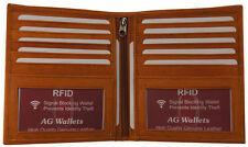 RFID Signal Blocking Tan Leather European Hipster Credit Card 2 ID Bifold Wallet