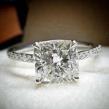 1.20 ct. Cushion Cut Natural Diamond U-Pave Engagement Ring GIA H, VS1 14k White