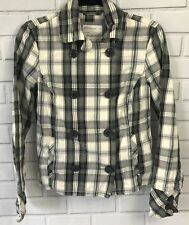 Aeropostale Women's Small Gray Plaid Jacket Double Breasted Great Condition!