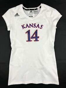 Kansas Jayhawks adidas Jersey Women's White Poly New Multiple Sizes