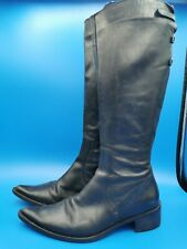 Unbranded ladies black cowboy boots/ western leather size 38/ uk 5