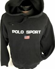 Vintage Ralph Lauren POLO SPORT Hoodie Sweater Spelled Out Flag Stadium P-Wing L