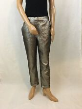Zara Gold Shiny Jacquard Trousers Size M