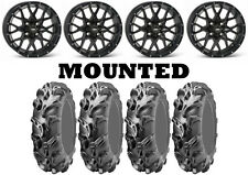 Kit 4 ITP Mega Mayhem Tires 27x9-12/27x11-12 on ITP Hurricane Matte Black SRA