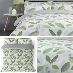 Green Duvet Covers Geometric Leaf Print Reversible Grey Quilt Cover Bedding Sets