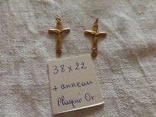 lot de 2 superbe Croix cross religious en plaqué or  FAB FRANCE vintage