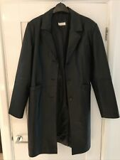 Black Leather Ladies Size 12 Knee Length Coat Excellent Condition