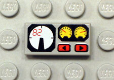 LEGO - Tile 1 x 2 with Red 82, Yellow and White Gauges Pattern - Light Gray