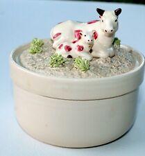 "Vintage Fitz & Floyd Cow & Calf Resting Top Trinket Box 5"" Dia. Mcmlxxxi"