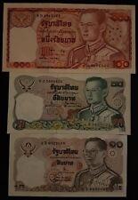 Thailand Banknote 10-20-100 Baht King Rama IX Series 12 Complete Set UNC.
