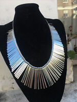 Vintage 1980s jewellery Silver statement tribal kuchi necklace