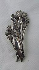 ancienne broche bijou art nouveau argent decor oeillets et scarabée ep fin 19e
